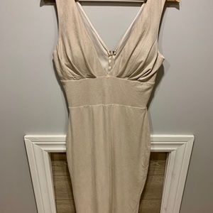 Fitted bodycon midi dress cream colour
